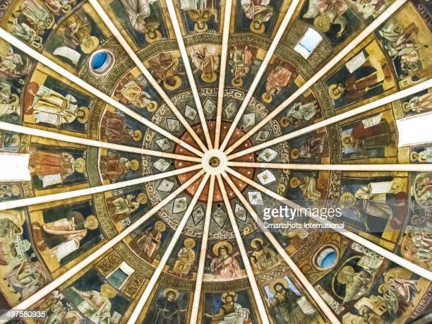 Frescoes inside Parma's domed ceiling Baptistery