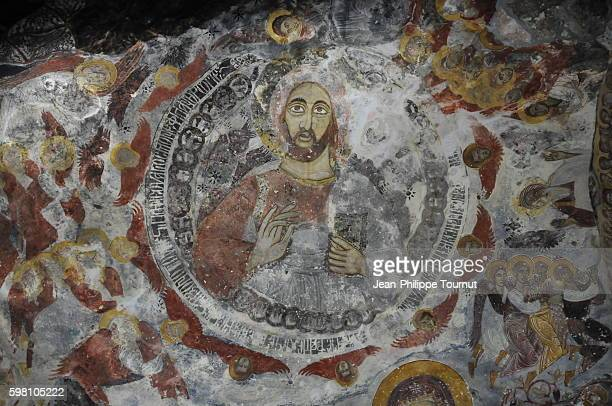 Frescoes on the ceiling of the ancient Greek Orthodox Sumela Monastery near Trabzon, North-East Turkey