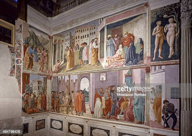 Frescoes on the Right Wall of the Brancacci Chapel by Masaccio Masolino Filippino Lippi 14241485 15th Century fresco Italy Tuscany Florence Church of...