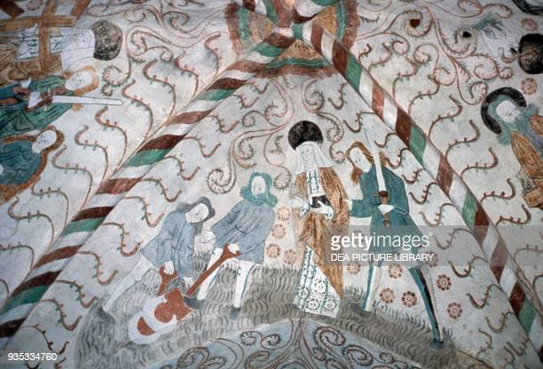 Frescoes on the vault Holy Cross Church Hattula Finland