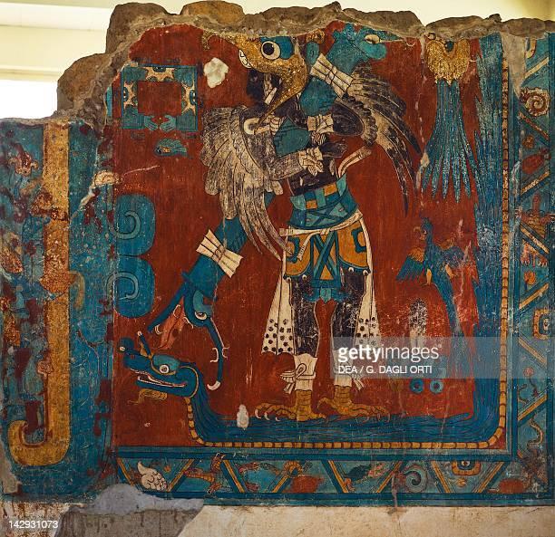 Frescoes showing the manbird Quetzal artefact from Cacaxtla Tlaxcala PreColombian Civilization Cacaxtla Archaeological Site Tlaxcala