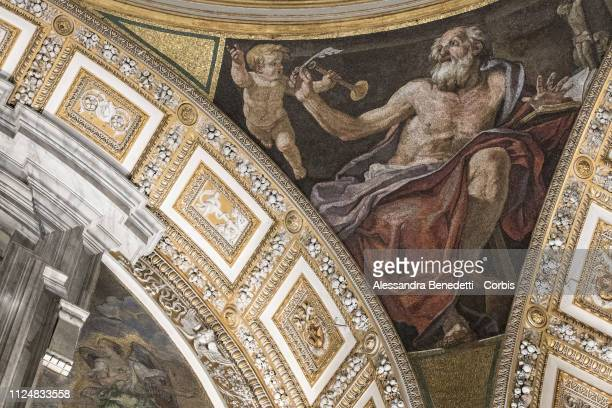 Frescos and close ups of St Peter's domes are enlighted with the new energysaving led lighting scheme for St Peter's Basilica at The Vatican on...
