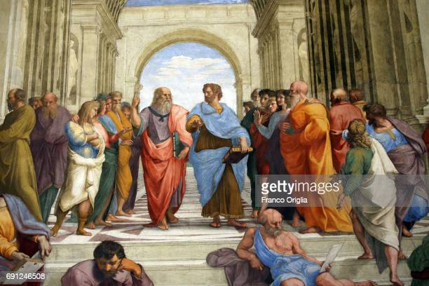 Frescos at the Room of the Signatura featuring Plato and Arisotle and The School of Athens during the inauguration of the Raphael Rooms new lighting...
