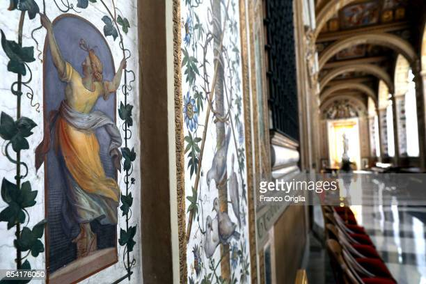 Frescos at the Second Lodge of the Apostolic Palace on March 16 2017 in Vatican City Vatican The Apostolic Palace is the official residence of the...