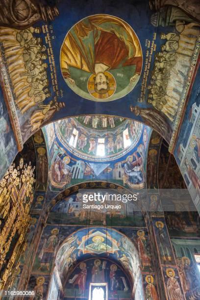 frescos in moraca monastery - montenegro photos et images de collection