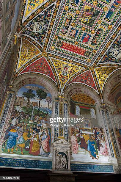 Frescos in the Piccolomini Library in the Siena Cathedral di Santa Maria better known as the Duomo in Siena Tuscany Italy