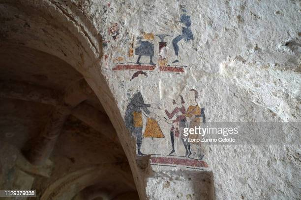 Frescos of the 'Palombaro Lungo' in Matera' Matera is a city in Southern Italy which is the 2019 European Capital of Culture on February 13 2019 in...