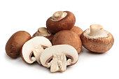 Fresh agaricus bisporus or portobello mushrooms