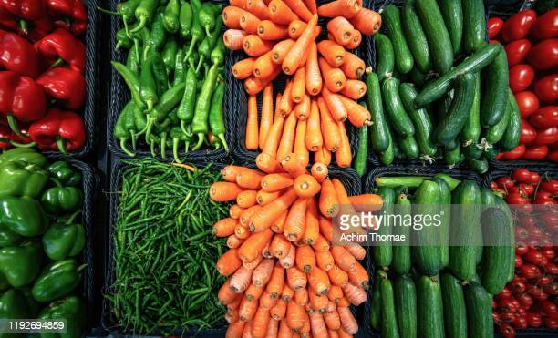 fresh and coulourful vegetables - produce aisle stock pictures, royalty-free photos & images
