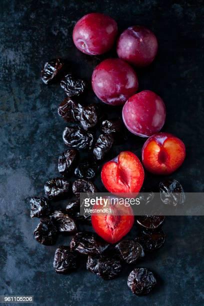 fresh and dried plums on dark ground - dörrpflaume stock-fotos und bilder