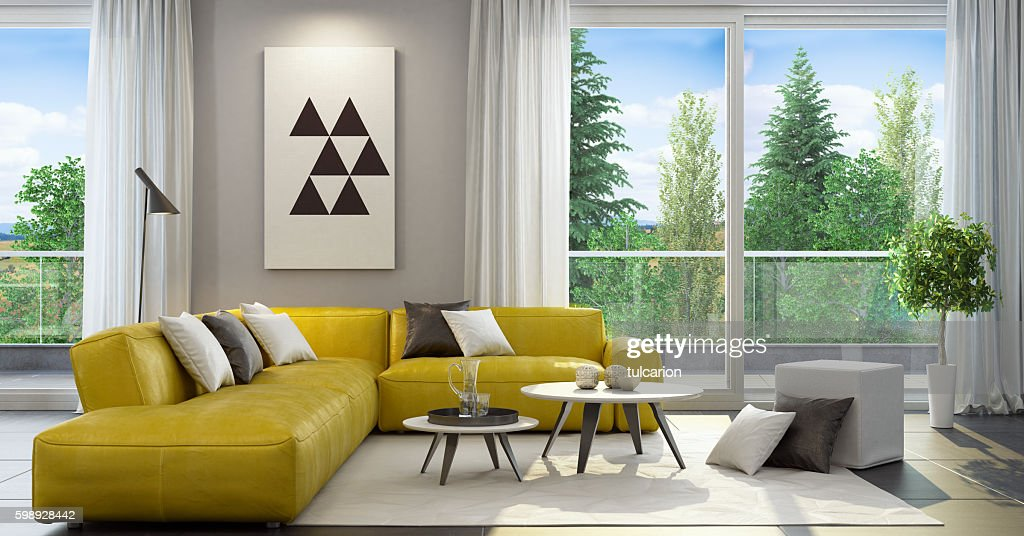 Fresh and modern style living room interior : Stock Photo