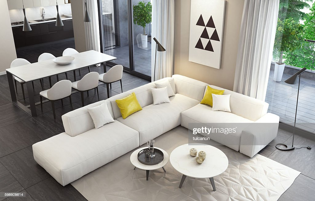 Fresh and modern white style living room interior : Stock Photo