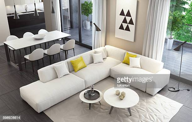 fresh and modern white style living room interior - vehicle interior stock pictures, royalty-free photos & images