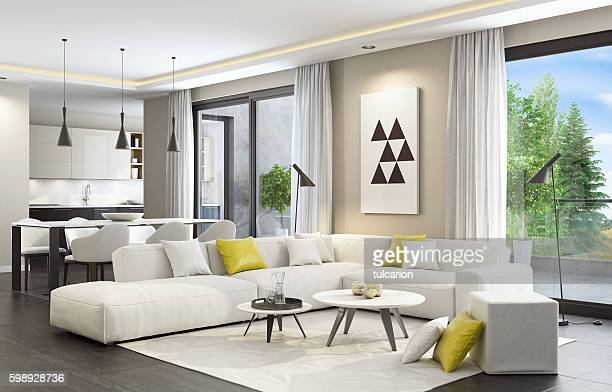 fresh and modern white style living room interior - carpet decor stock photos and pictures