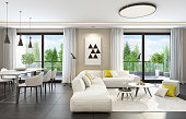 Fresh and modern white style living room interior
