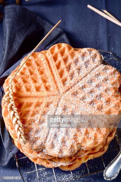 fresh and tasty waffle - chicken and waffles stock photos and pictures