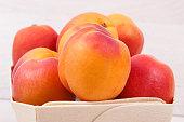 fresh apricot wooden box as healthy