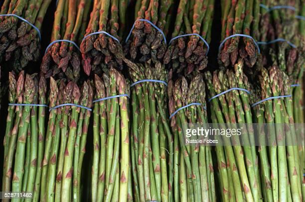 fresh asparagus at seattle's pike place market - natalie pike fotografías e imágenes de stock