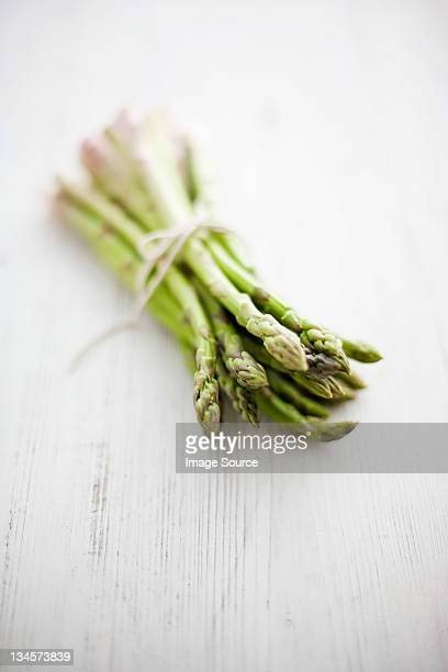 Fresh asparagus tied with string