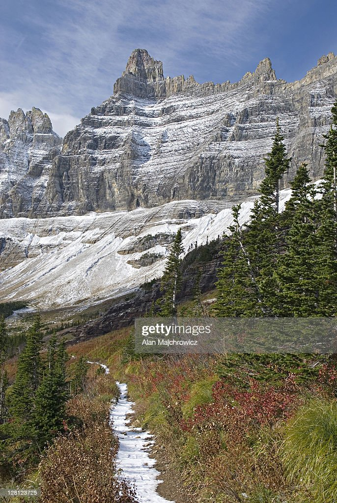 Fresh Autumn Snow On The Ptarmigan Wall Above The Iceberg Lake Trail