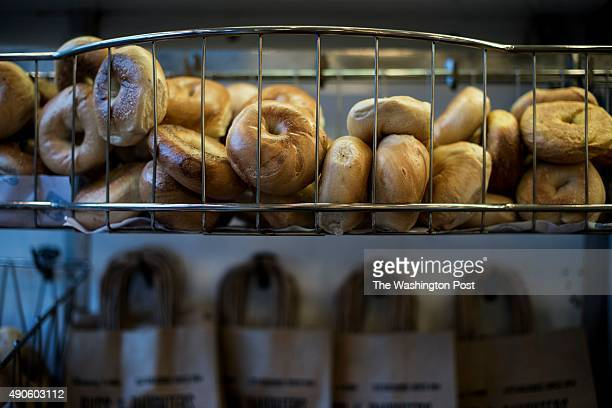 Fresh bagels and traditional store bags at Russ Daughters store in lower Manhattan New York Friday September 18 2015