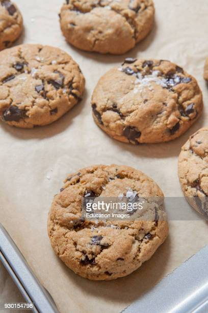 Fresh Baked Chocolate Chip Cookies Covered with Salt