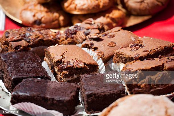 fresh baked cookies, brownies at charity fundraiser bake sale - brownie stock pictures, royalty-free photos & images