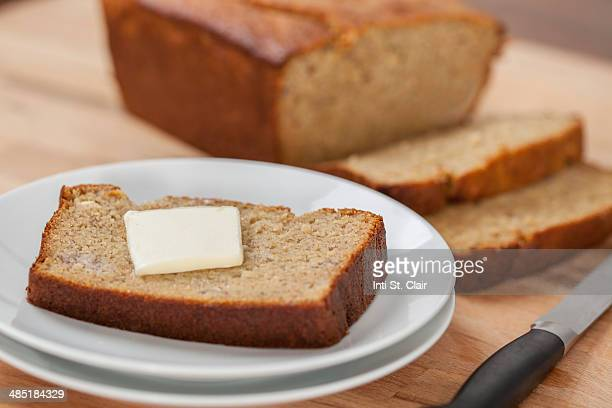 Fresh baked gluten free banana bread with butter
