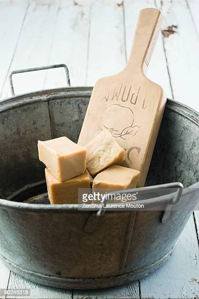 Fresh baker's yeast in metal bucket
