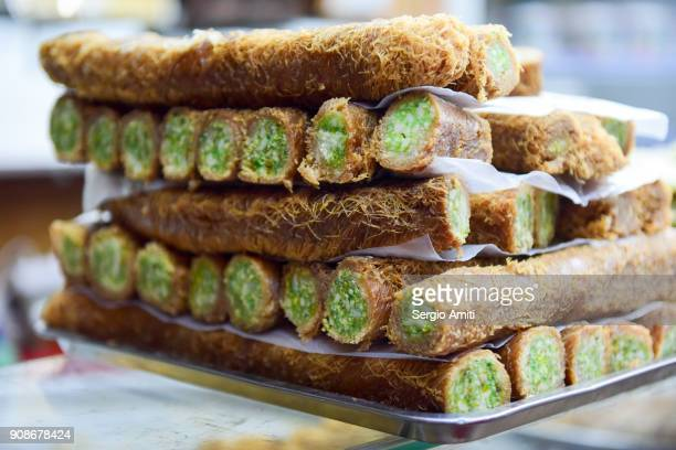 fresh baklava in amman, jordan - jordan middle east stock pictures, royalty-free photos & images