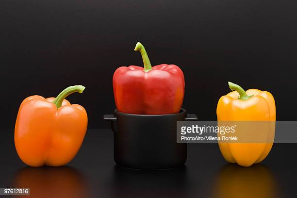 Fresh bell peppers, one squeezed into miniature pot