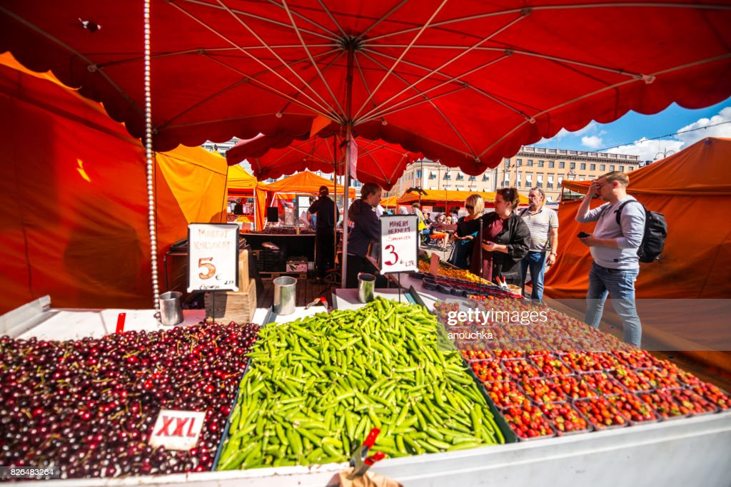 Fresh berries and vegetables for sale on Market square, Helsinki, Finland : Stock Photo