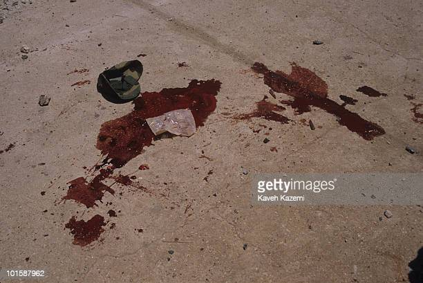 Fresh blood of an Amal militia men who died instantly after a mortar attack coming from Bourj elBarajneh Palestinian refugee camp in the southern...