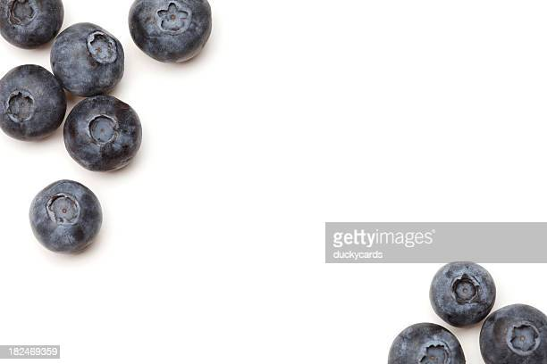 Fresh Blueberries on White Background with Copyspace