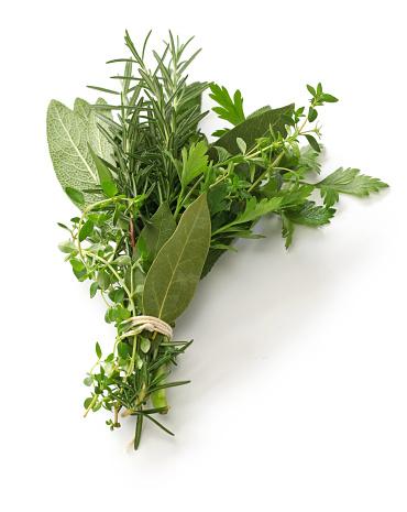 fresh bouquet garni, bunch of herbs 692996550