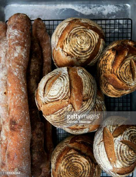 fresh bread and baguettes - baked stock pictures, royalty-free photos & images