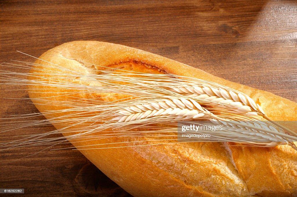 fresh bread and wheat : Stock Photo