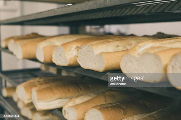Fresh bread in bakery factory