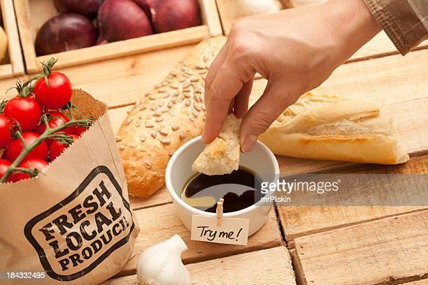 Fresh bread in olive oil and balsamic vinegar