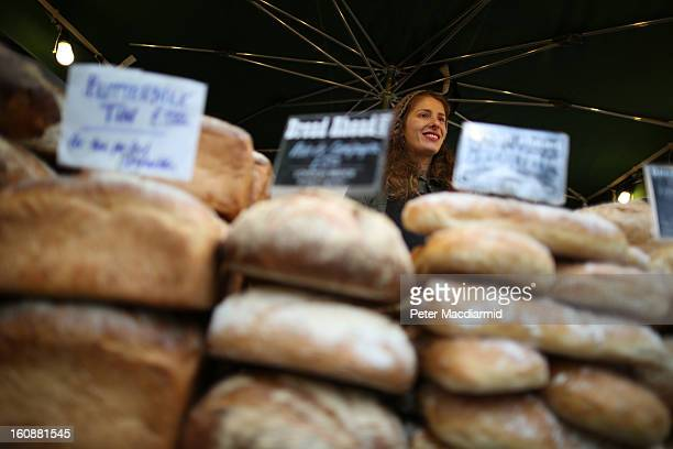 Fresh bread is sold at Borough Market on February 7 2013 in London England Borough Market London's oldest since 1756 has recently completed...