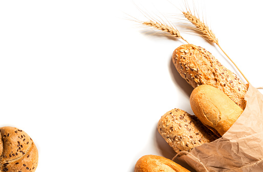 Fresh bread with seeds isolated on white background 1135166068