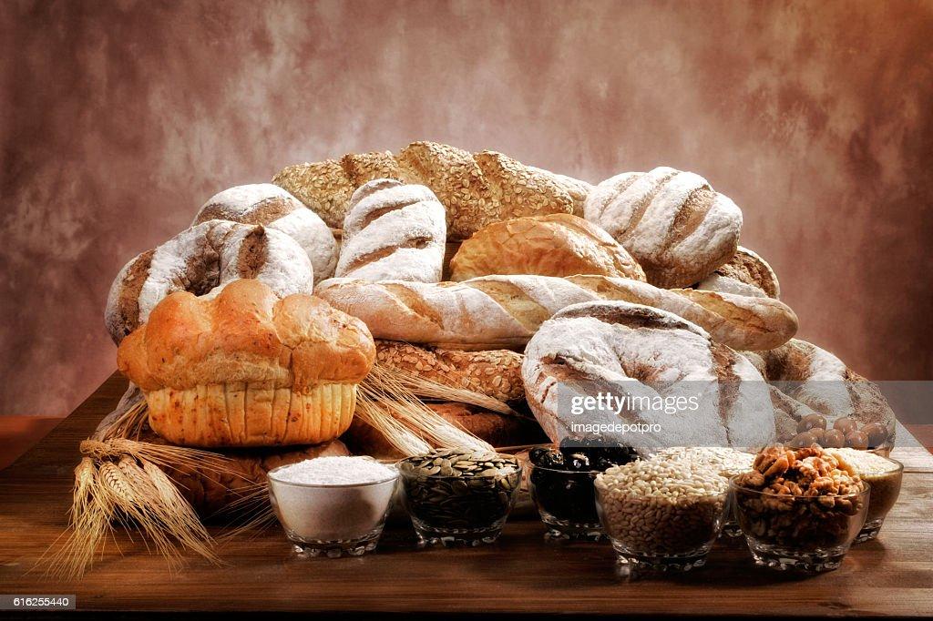 fresh breads arrangement : Foto de stock