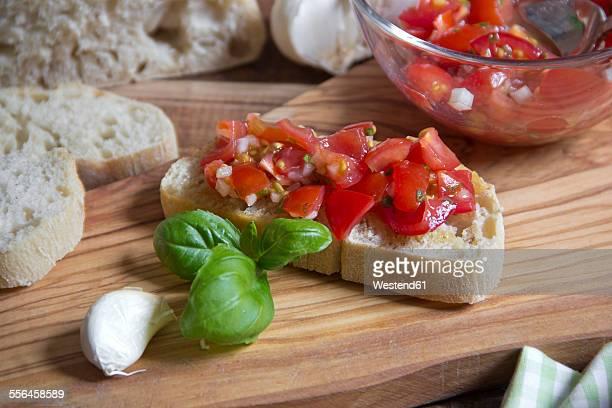 Fresh bruschetta with ingredients