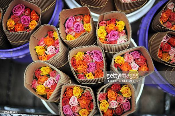 A fresh bunch of roses taken from a cold storage room sit in a cart ready to be discarded at a flower exporter's farm in Naivasha Kenya on April 19...