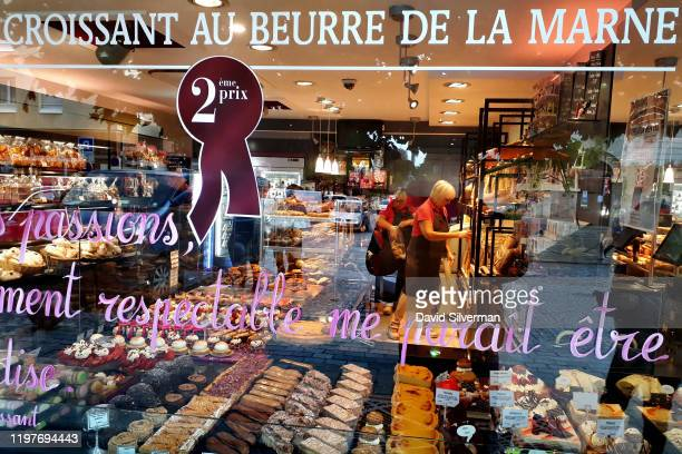 Fresh cakes and pastries are on display in the Baillet Patrick patisserie and bakery on October 5 2019 in the village of Ay in the Vallée de la Marne...