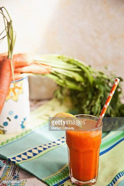 Fresh carrot juice with carrots