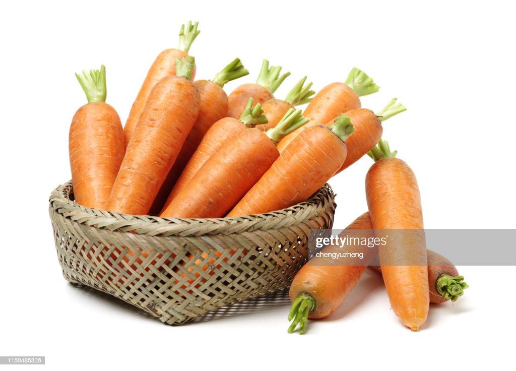 Fresh carrot on a white background : Stock Photo