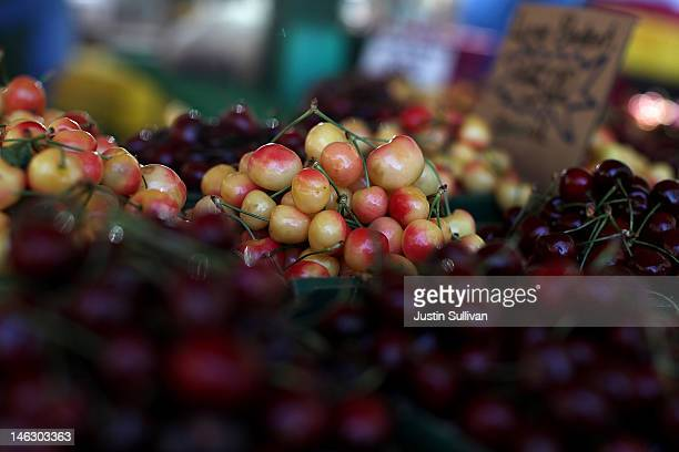 Fresh cherries are displayed at a farmers market on June 13 2012 in San Francisco California The US Senate has started to debate the new fiveyear...