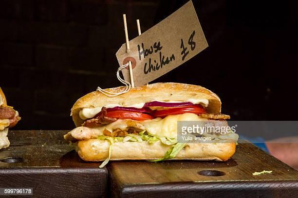 fresh chicken mayonnaise roll on a buffet - crosta di formaggio foto e immagini stock