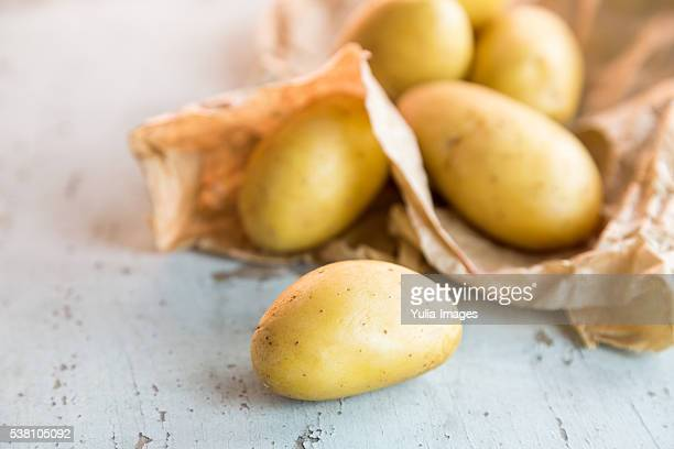 Fresh clean uncooked baby potatoes